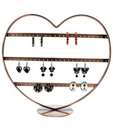 Porte boucle d'oreille Cœur à rangs (34 paires) - Cuivre
