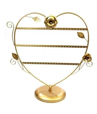Porte boucle d'oreille Cœur Romantique (30 paires) - Doré