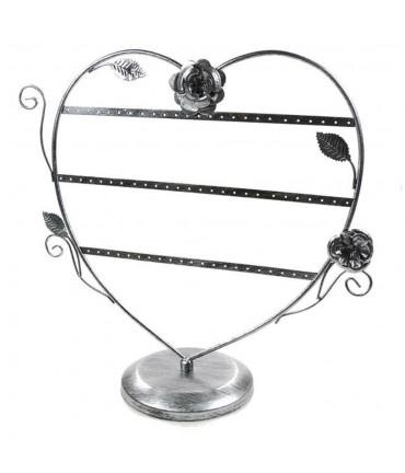 Porte boucle d'oreille Cœur Romantique (30 paires) - Gris patiné