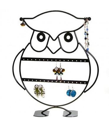 Presentoir bijoux pour boucles d'oreilles Hibou (16 paires) - Noir