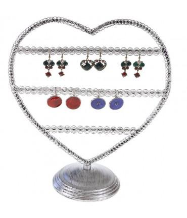 Porte boucle d'oreille Amour (25 paires) - Gris patiné