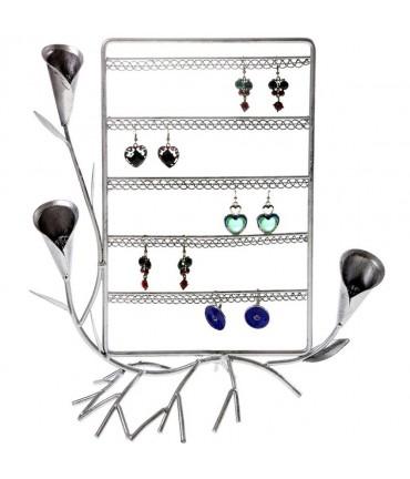 Presentoir boucle d'oreille Fleur Arum (40 paires) - Gris patiné