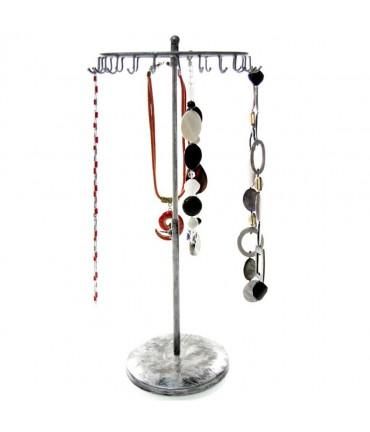 Présentoir manège à bijoux pour colliers et/ou bracelets - Gris patiné