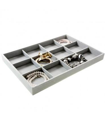 Plateau bijoux à 12 compartiments en velours - Gris clair