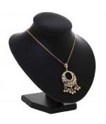Buste porte collier et chaine simili cuir 16 cm - Noir