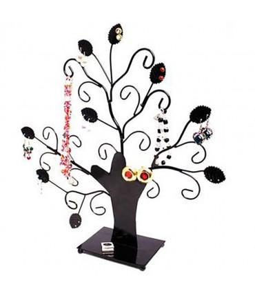 Arbre à boucle d'oreille et bijoux Fioriture (20 paires) - Noir