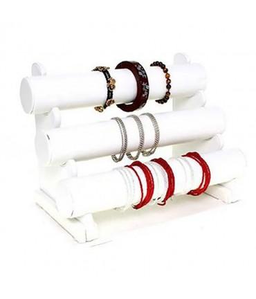 Support bracelet montres jonc en simili cuir à 3 rangs - Blanc