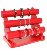Support bracelet montres jonc en simili cuir à 3 rangs - Rouge