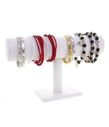 Support bracelet montres jonc en simili cuir à 1 rang - Blanc