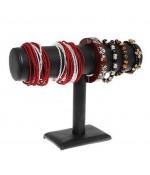 Support bracelet montres jonc en simili cuir à 1 rang - Noir