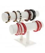 Support bracelet montres  jonc en simili cuir à 2 rangs - Blanc