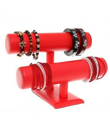 Support bracelet montres  jonc en simili cuir à 2 rangs - Rouge