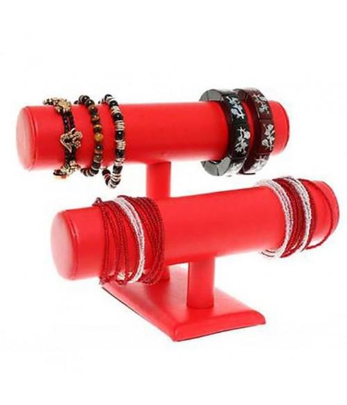 Support bracelet montres  jonc en simili cuir à 2 rangs
