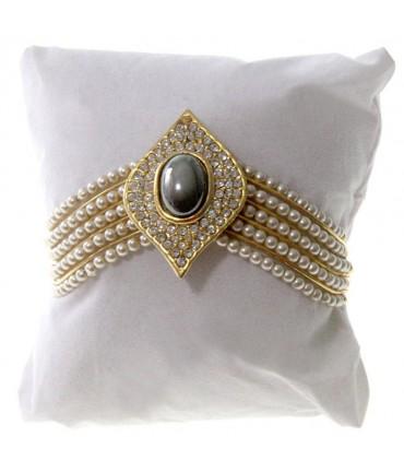 Coussin montre et bracelet en velours 8 x 8 cm - Blanc