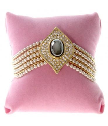 Coussin montre et bracelet en velours 8 x 8 cm - Rose
