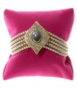 Coussin montre et bracelet en velours 8 x 8 cm - Rose vif