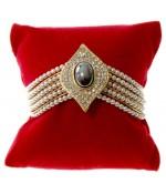 Coussin montre et bracelet en velours 8 x 8 cm - Rouge