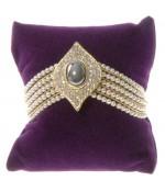 Coussin montre et bracelet en velours 8 x 8 cm - Violet