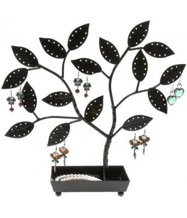 Arbre à boucle d'oreille et bijoux Bonzai (60 paires) - Noir