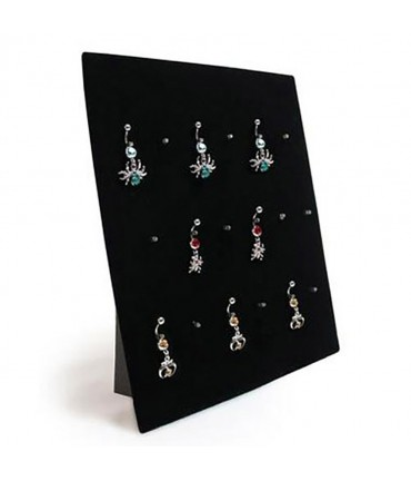 Présentoir à bijoux pour piercings (18 pièces) - Noir