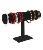 Jonc porte bracelet montres en velours à 1 rang - Noir