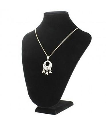 Buste porte collier chaîne en velours 23 cm - Noir