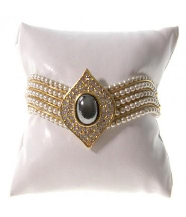 Coussin montre et bracelet en simili cuir 8 x 8 cm - Blanc