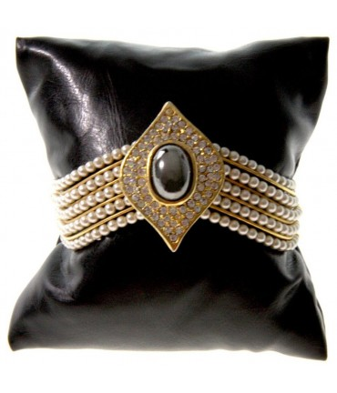 Coussin montre et bracelet en simili cuir 8 x 8 cm - Noir