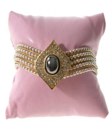 Coussin montre et bracelet en simili cuir 8 x 8 cm - Rose