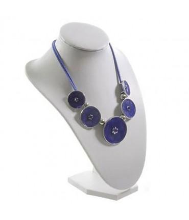 Buste porte collier et chaine simili cuir 23 cm - Blanc