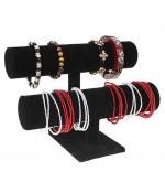 Jonc porte bracelet montre et chouchous velours à 2 rangs