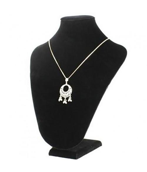 Buste porte collier et chaîne en velours 26 cm
