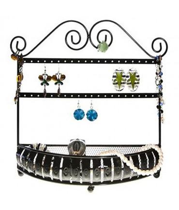 Porte boucle d'oreille et porte bijoux Panier (20 paires) - Noir
