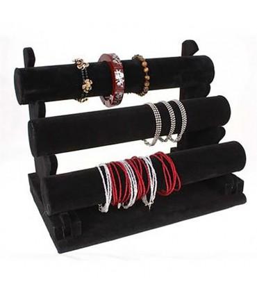 Jonc porte bracelet et montre en velours  à 3 rangs noir