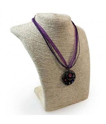 Buste porte collier ou sautoir Ethnica en raphia 22 cm