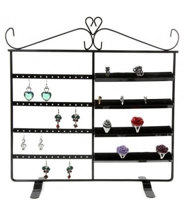 Porte bijoux cadre Duo pour boucle d'oreille et bague - Noir