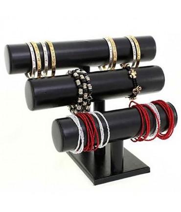 Support bracelet et montre 3 joncs en simili cuir - Noir