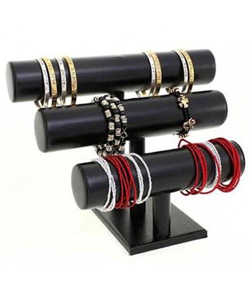 Support bracelet et montre 3 joncs en simili cuir