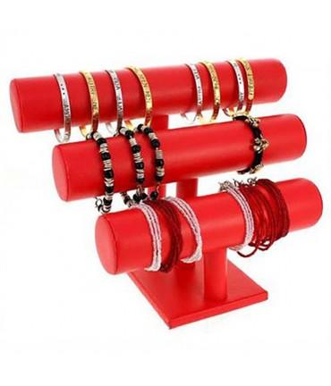 Support bracelet et montre 3 joncs en simili cuir - Rouge