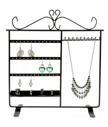 Porte bijoux cadre Tout-En-Un boucle collier bague bracelet - Noir