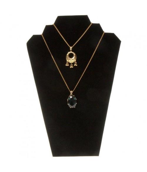 Buste presentoir colliers pliant en velours 32 cm