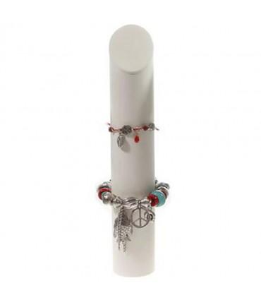 Presentoir bracelet Colonne en simili cuir H 29 cm - Ivoire