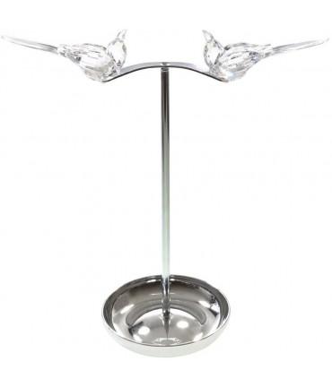 Porte bijoux Oiseau pour collier bracelet bagues - Chrome