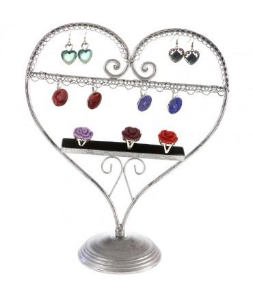 Presentoir pour bijoux Cœur mixte boucle d'oreille et bagues - Gris patiné