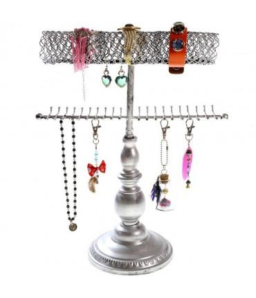 Porte bijoux Queen pour collier bracelet et accessoires - Gris patiné