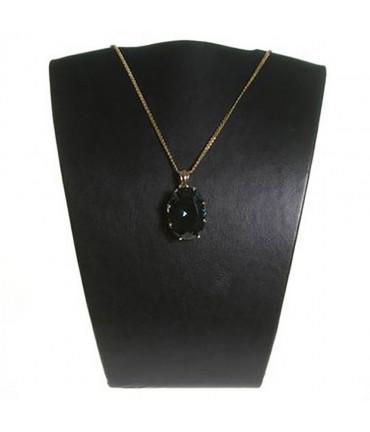 Buste porte collier et chaine en simili cuir 15 cm - Noir