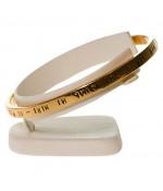 Mini support bracelet jonc ou montre plot Ring en simili cuir - Ivoire