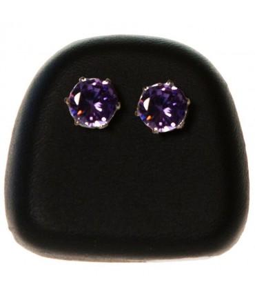 Présentoir pour boucles d'oreilles en simili cuir (1 paire) - Noir