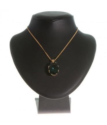 Presentoir collier buste en simili cuir de 14 cm