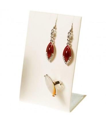Mini support bijoux presentoir pour parure simili cuir 13 cm - Ivoire